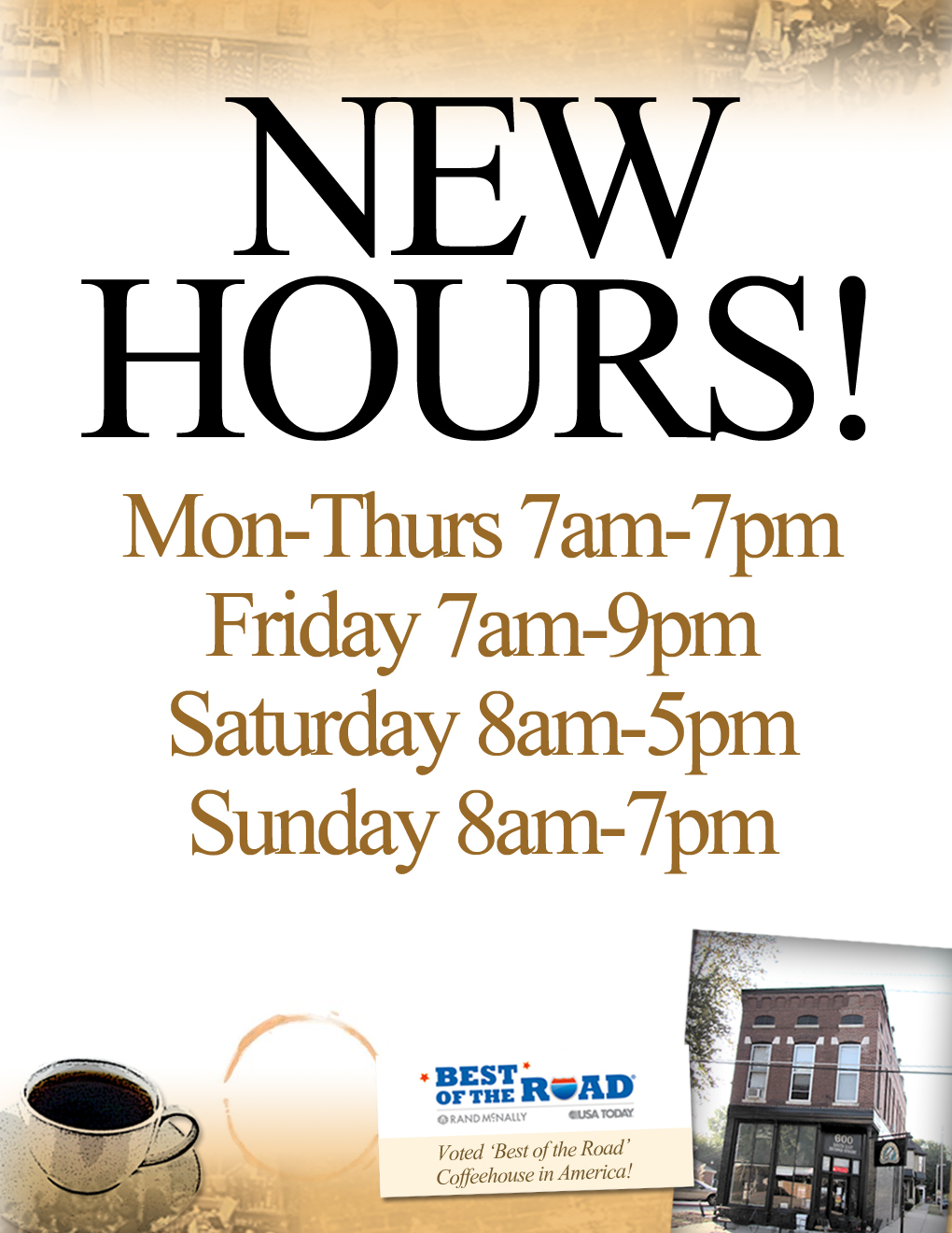 New Hours Penny Lane Coffeehouse
